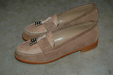 WOMAN - 37½ - PENNY LOAFER - SUEDE + GENUINE OSTRICH BEIGE - LEATHER SOLE