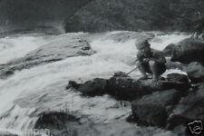 "WOW Vintage 3.5"" Black & White Photograph Kid Cane Pole Fishing River Old Bridge"