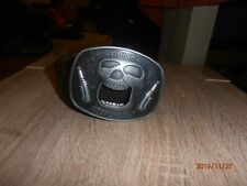 RIVER ISLAND BROWN MEDIUM BELT & `DRINK RESPOSIBLY` SKULL BUCKLE - FREE DELIVERY