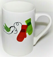 Starbucks Coffee Christmas Mug Tea Cup 12 fl oz Red Green Mittens and Dove