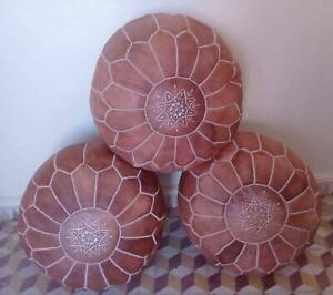 Set of 3 Leather pouf handmade ottoman luxury tanned oiled floor moroccan home