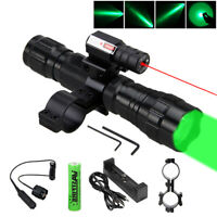 Tactiucal Green LED Flashlight & Red Dot Laser Sight w/ 2-Ring Mount Gun Rifle