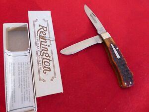 Remington USA Made mint in box R1123L DOUBLE LOCKBACK bone bullet trapper knife