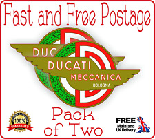 2 x Ducati Vintage Style logo badge vinyl sticker decal Moto Gp Super Bike