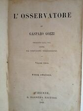"""LIBRO ANTICO IN MEZZA PELLE CON TITOLI E FREGI IN ORO """"L'OSSERVATORE"""" 1869"""
