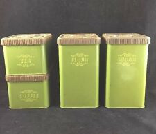 Green 1970's Retro Vintage Metal Kitchen 4 Piece Canister Set With Covers USA