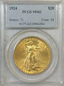 PCGS MS62 1924 $20 Saint Gaudens Gold Coin.! Select BU.! NR.!