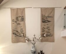 More details for antique japanese chinese silk embroidered panels pair large oriental  hand-sewn
