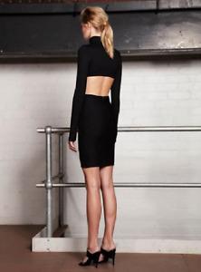 Jaime Ashkar Polo Cut Out Dress Bodycon Stretch Black Dress Size 10 NWT