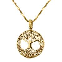 Messing Brass Anhänger filigran Baum des Lebens Wurzel golden Kette nickelfrei T
