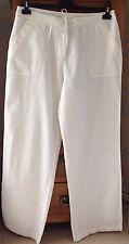 Women's White Cotton & Linen Blend Trousers Size 14 NEW