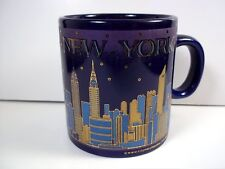 New York City skyline at night shot mug blue gold on dark purple 3.5 oz