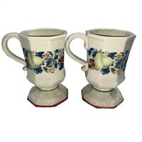 Avon Pedestal Coffee Cups Sweet Country Harvest Lot of 2 Fruit Mugs Footed