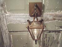 Vintage Brass Light Fixture Sconce Candle Lantern Antique Patina 17 18th century