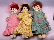 """Lot of 3 Vintage Handmade Cloth 11"""" Dolls From 1950s"""