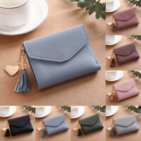 Women Tassel Small Leather Short Design Wallet Photo Credit ID Card Holder Purse