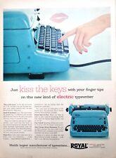 1955 Royal Electric Blue Typewriter Vintage Print Ad Kiss the Keys