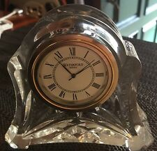 Waterford Crystal Abbey Cut Small Quarts Desk Clock Time Piece.