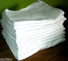 10 x Large White Soft Cotton Terry Towels / Cloths Car Cleaning Drying Polishing
