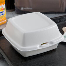 """(125-Pack) 6"""" x 6"""" x 3"""" White Foam Hinged Lid Take Out Containers"""
