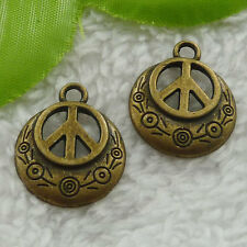 Free Ship 100 pcs bronze plated peace symbol charms 24x20mm #2524