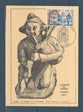 carte  1er jour  journée du timbre  38 Vienne    1971