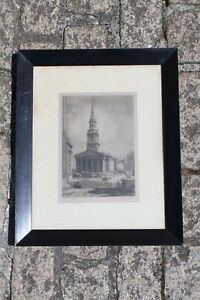Antique Malcolm Osbourne R. E.(1880-1963) Framed Etching St Martins In The Field