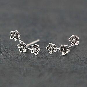 Sterling Silver Triple 3 Flowers Line Wave Post Girls Stud Earrings