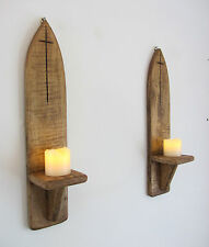 PAIR OF 44CM RECYCLED PALLET WOOD GOTHIC ARCH WALL SCONCE LED CANDLE HOLDERS