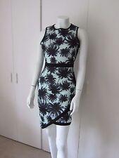 BNWOT MISSGUIDEDDesdemona Mint/Black Asymmetric Palm Print Mini Dress size 10