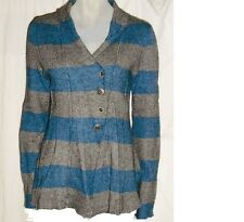 FREE PEOPLE Anthropologie Blue Gray Stripe Light Sweater Knit Button Cardigan S