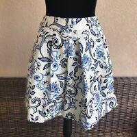 Womens Ann Taylor LOFT Blue White Damask Print Skirt Pleated NEW NWT Size 00