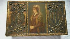 "Antique Florentine Wood & Gilt Decorated Renaissance Portrait Box 10"" - EXC"