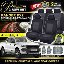 Premium Black FORD PX RANGER MK2 Dual Cab Seat Covers 2ROWs Wildtrack 6/2015-18