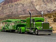 """1/64 DCP LIME GREEN PETERBILT 389 63"""" FLAT TOP W/ MILLER 5 CAR CAR CARRIER TRL"""