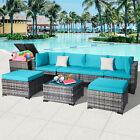8 Pcs Outdoor Patio Furniture Set Rattan Wicker Sofa Sectional Garden Poolside