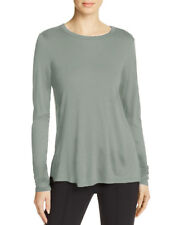 NEW THEORY Women's Drapey Side Slit Long Sleeve Tee Cotton Shirt light grey XS