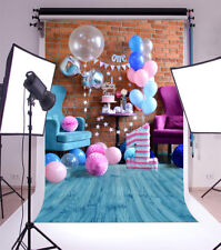 Cute Blue 1st Birthday Baby Photography Backgrounds 3x5ft Vinyl Photo Backdrops