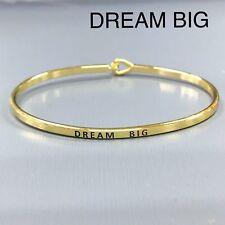 Gold Finished Dream Big Message Phrase Engraved Brass Plated Bangle Bracelet