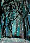 ACEO Original WINTER PAINTING Snow Night Pine TREES Landscape Snowing ATC ART