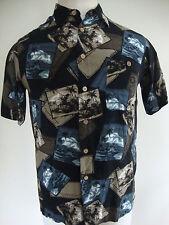 Mens Bowling Camp Hawaiian Shirt XL S/S Postcards Black Tan Blue Rayon Beach EUC