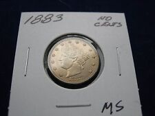 Stunning 1883 Liberty or V Nickel No Cents Variety AU/BU Condition