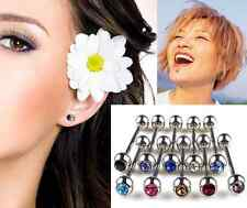 Mixed Ball Tongue Lip Bars Rings Barbell Body Piercing Stainless Steel HS 10pcs