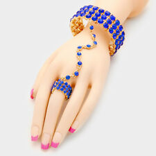 Gold Blue Sapphire Crystal Bracelet Hand Chain Stretch Ring By Rocks Boutique