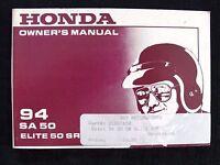 GENUINE 1994 HONDA SA 50 ELITE SR SCOOTER MOTORCYCLE OPERATORS MANUAL VERY GOOD