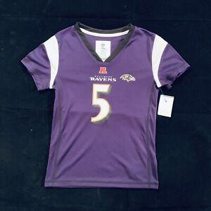 Brand New NFL Baltimore Ravens Joe Flacco Throwback Jersey Girls Size S (6/6X)