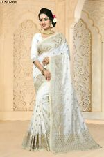 Designer White Heavy Embroidery Border Bollywood Sari Art Silk Party Wear Saree