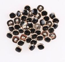 10 X 12MM SQUARE BLACK RESIN GOLD BACK SEW ON SHANK BUTTONS - SEWING KNITTING