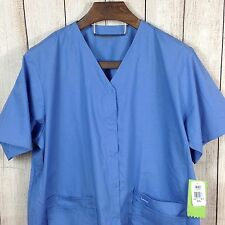 NWT Landau Made Better Scrubs 3XL 4 Pockets Light Blue Scrub Top Snap Front
