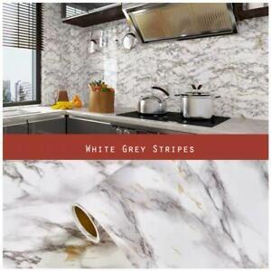 5 Metres Vinyl Self Adhesive Marble Worktop Cupboard Door Cover Kitchen Stickers